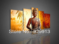 More Panel Oil Painting Abstract Framed 5 Panel 100% Handmade Huge Oil Painting 5 Piece Canvas Art Cherry Blossom Feng Shui Buddha Wall Decor Chinese Pictures M1306