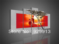 Wholesale Framed Panels Handmade High End Large Piece Canvas Art Red and White Wall Paintings Sunset Home Decor African Girl Picture M1248