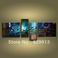 Wholesale 2013 New Design Framed Panels Handpainted High End Large Amazing Oil Painting Blue Abstract Wall Art Canvas Picture M0979