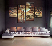 Oil Painting beach end - Framed Panels Handpainted Stunning High End Huge Beach Sunset Painting African Art Modern Oil Painting The Pictures M0059