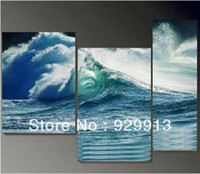 Cheap Framed 3 Panels Ocean Waves Painting Seascapes Canvas Wall Art Picture Interior Decoration Home M0034