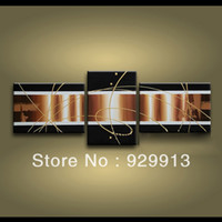 Cheap More Panel 3 Piece Wall Art Best Oil Painting Abstract Brown
