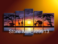 More Panel Oil Painting Abstract Framed 5 Panels Large Purple Wall Decor Elephant African Art Sunset Oil Painting on Canvas Home Decoration Interior Decor Picture M0191