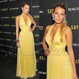 Wholesale New Sexy Evening dresses Zuhair Murad Blake Lively Yellow V neck Celebrity Dresses st002