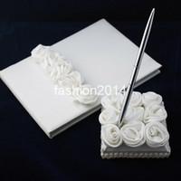 Wholesale 2013 fashion Wedding Favors Wedding Party unique white rose satin design Wedding Guest Books amp Pen Sets