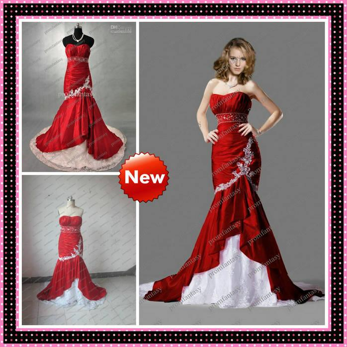 2013 New Gothic Style Mermaid Red And White Strapless Wedding ...