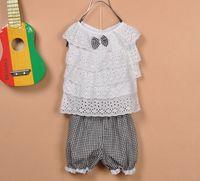 Wholesale Children clothing Baby Girls lace vest plaid shorts two piece On sale