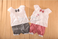 Girl 3T-4T Spring / Autumn Children clothing Baby Girls lace vest + plaid shorts two-piece 3pcs lot 405