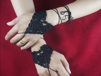 Wholesale Wedding Bride Bridesmaids Heart Crochet Gloves Fingerless Hand jewelry Victorian Sexy Yoga Bracelet Dance Steampunk tms002