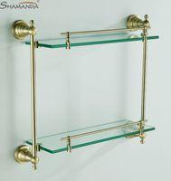 antique wall shelf - European Antique Bronze Double Glass Shelf bathroom shelves bathroom accessories BN