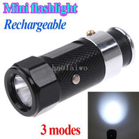Wholesale 3 Modes Mini Led Rechargeable flashlights Car Cigarette Lighter Flash light torch Retail
