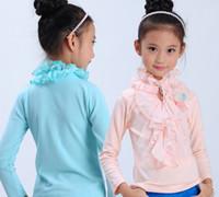 Wholesale Junior s Girls Rosette Brooch Beads Ruffles Chiffon Collar Long Sleeve Shirt Children Girls Wrinkle Plain Tees Top B0905