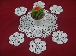 wholesale 100% cotton hand made crochet doily table cloth Set, Retro chic designs cup mat crochet applique