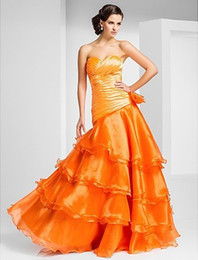 Wholesale Custom Made A line Sweetheart Floor length Organza Evening Dress With Side Draping And Tiers