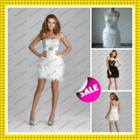 2016 Feather Accents Short White Cocktail Party Gowns New Sh...