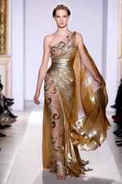 Wholesale 2013 Gold Pageant Gown Zuhair Murad Haute Couture Applique Shine Evening Dresses