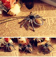 gemstone necklace - Retro Spider Pendant Necklace Vintage Animal Charm Necklace For Women Gemstone Fashion Black Necklace Jewelry NL064