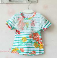 Round Neck Girl Summer Short Sleeve T Shirt Children T Shirts Kids Clothing Tee Shirt Girls Cute Stripe Casual Flower T Shirt Fashion Lace Collar Princess Shirts