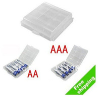 Wholesale Fress shipping Hard Plastic Case Holder Storage Box AA AAA Battery batteries Portable