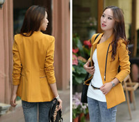 Wholesale Ladies Black Suit Blazer Inclined zipper Long Sleeve Slim Jacket Coat Yellow Bordeaux S M L XL