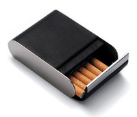 Wholesale Noble Black Leather Magnetic Storage Cigarettes Y4034A