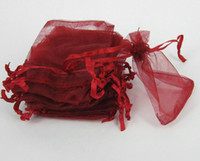 Wholesale Satin Red Gift Bags - 200pcs red Jewelry Box Luxury Organza ring earring Jewelry Pouches Gift Bags For Wedding favours Bags Pouch with drawstring satin ribbon