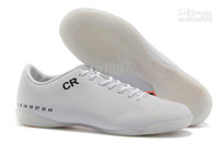 Wholesale Classic IC Soccer Shoes Mens Indoor IC Football Cleats AAA Quality Cheap Best Indoor WHITE ORANGE