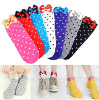 Wholesale Colorful Bow Sox Cute Cotton Socks Polka Dot Quality Lady Socks Ankle Socks Lovely Girl Boat Sock