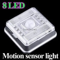 Wholesale 8 LED Light Lamp PIR Auto Sensor Motion Detector home Light lamps drop shipping