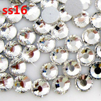 Good Synthetic (lab created) Round Brilliant Cut wholesale 1440pcs lot crystal color ss16 (3.8-4.0mm) crystal glass Rhinestone flatback rhinestones silver foiled free shipping