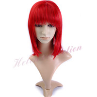 Straight best cheap wines - Best selling cheap Kanekalon quot g synthetic wine red wig with bangs