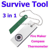 Wholesale Survival Kit Outdoor Survival Tool Flint Stone Fire Maker Starter Stick with Mini Compass Thermometer for Camping