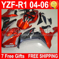 7 Free gifts Orange black For YAMAYA YZFR1 04- 06 YZF- R1 YZF1...