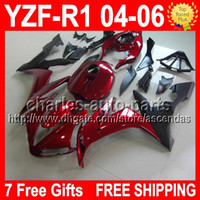 7 Free gifts For YAMAYA YZFR1 04- 06 Dark red black YZF- R1 YZ...