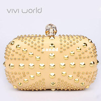 other other Handbags Famous designer luxury gold evening bag, Punk skull rivet rhinestones clutches, UK flag party bags handbag clutch bags