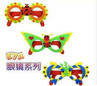 Wholesale Kids DIY Craft Kits EVA Foam Glasses D Puzzle Stickers Cartoon animals Mask Party Favor Supply