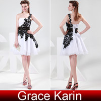 Wholesale New Cheap Black and White Homecoming Dresses Sexy One shoulder Strapless Short Lace Party Dress Prom Gowns CL4288