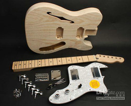 Custom 72 Te Electric Guitar For Kit DIY Unfinished Guitar Kit With Semi Hollow Body Free shipping