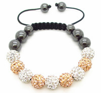 Wholesale 2013 Brand New Women Fashion Handmade Shine Crystal Clay Disco Shamballa and Hematite Adjustable Bracelet Shamballa Jewelry