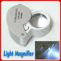 Wholesale 40X25mm Illuminated Loupe Led Light Magnifying Glass Silver