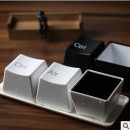 Wholesale Retail set Keyboard Coffee Tea Plastic Mug Cup Home Art Decoration Ctrl Alt Del Cups Set
