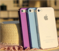 Wholesale iphone4s Apple frosted transparent plastic phone shell protective sleeve solid color thin transparent shell mobile phone shell