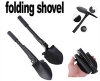 Wholesale 10pcs Mini Multi function Folding Camping Shovel Survival Trowel Dibble Pick Outdoor tool