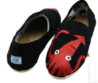 Wholesale Women s octopus Paul graffiti canvas tom shoes Couple soft soled shoes Dancing shoes