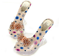 Wholesale new very beautiful diamond bow Sandal slipper Crystals shaped with wedge