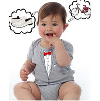 Boy Summer 100% Cotton new arrival baby tuxedo rompers newborn costume baby bodysuit one-piece romper shirts baby clothes jumpsuit babywear outfits tights D14