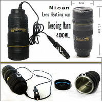 Cheap Freeship lens heating cup Coffee camera lens mug stainless steel liner travel thermal cup 400ml keeping warm with car charger