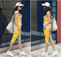 Cheap jumpsuits for women2013 New Arrival Women korean Sleeveless Letter Hooded Top+Cropped Pant Sport Suit Casual Jogging Suit SS3004