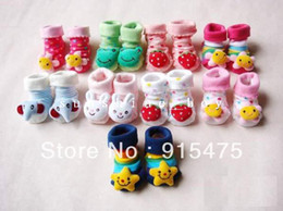 Wholesale 12Pcs Pairs Lovely Cartoon Baby Socks Anti Slip Cotton With Animal Unisex Slipper Shoes Newborn Month