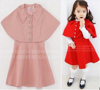 Girl 0-6 Months Spring / Autumn children girls fashion suits cloak short coat overcoat+dresses skirt 2pcs set kids cute outwear outfit pink red free shipping
